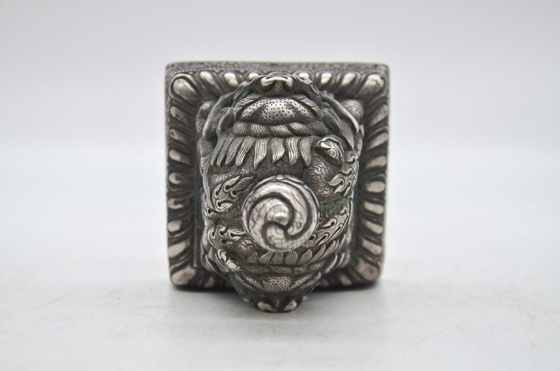 SILVER CAST 'MYTHICAL LION' STAMP SEAL - 5