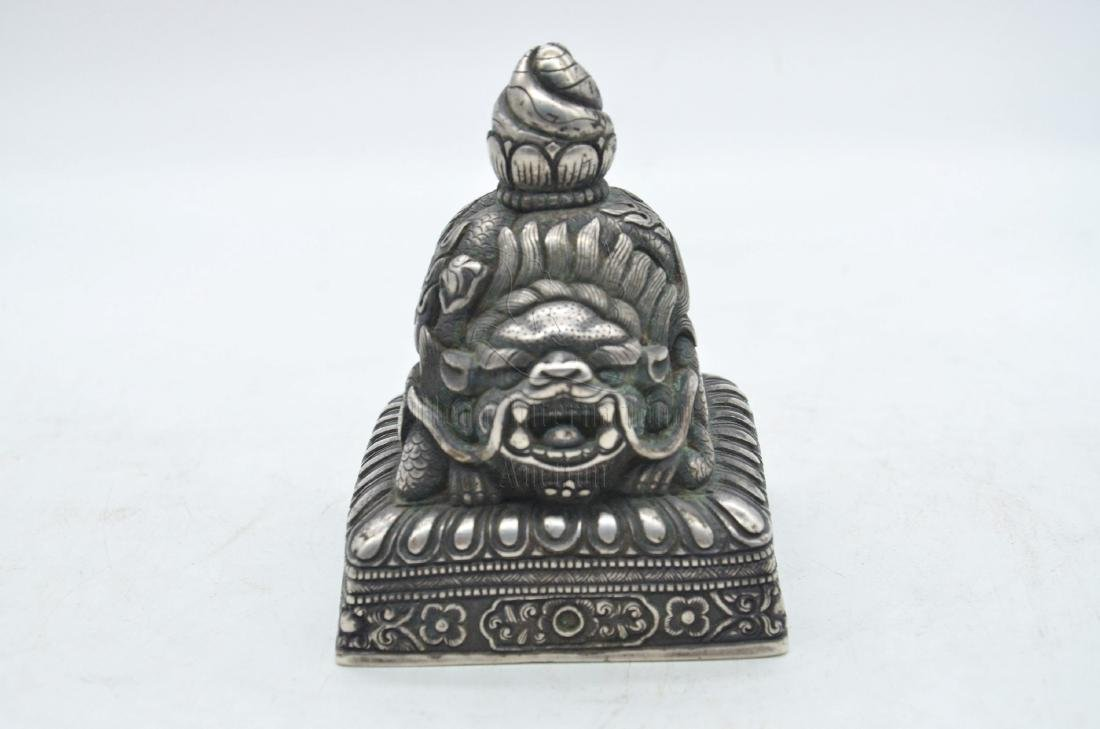SILVER CAST 'MYTHICAL LION' STAMP SEAL - 6