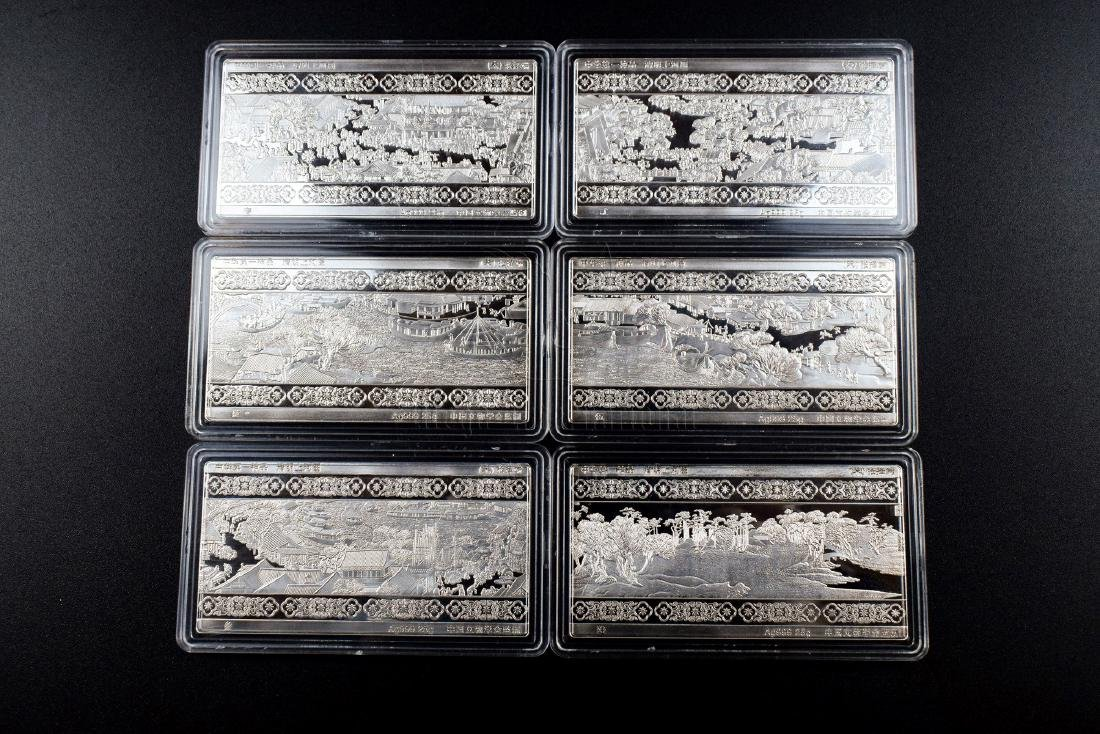 SET OF SIX SILVER PLAQUES