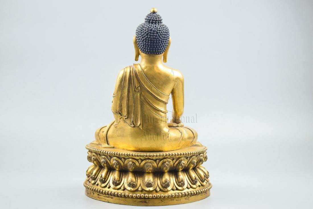 GILT BRONZE CAST SHAKYAMUNI SEATED FIGURE - 4