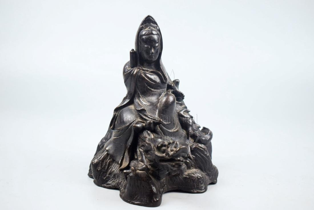 BRONZE CAST GUANYIN SEATED FIGURE