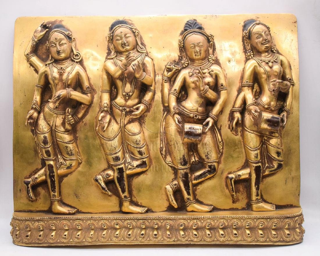 GILT BRONZE CAST 'FOUR CELESTIALS' PLAQUE