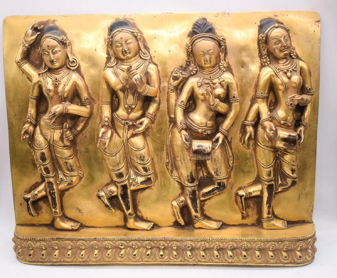 GILT BRONZE CAST 'FOUR CELESTIALS' PLAQUE - 2