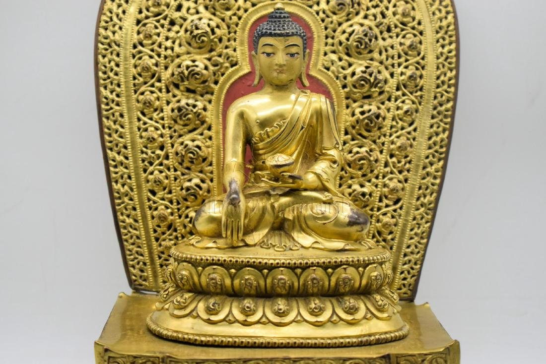 GILT BRONZE CAST 'SHAKYAMUNI' SEATED FIGURE - 6