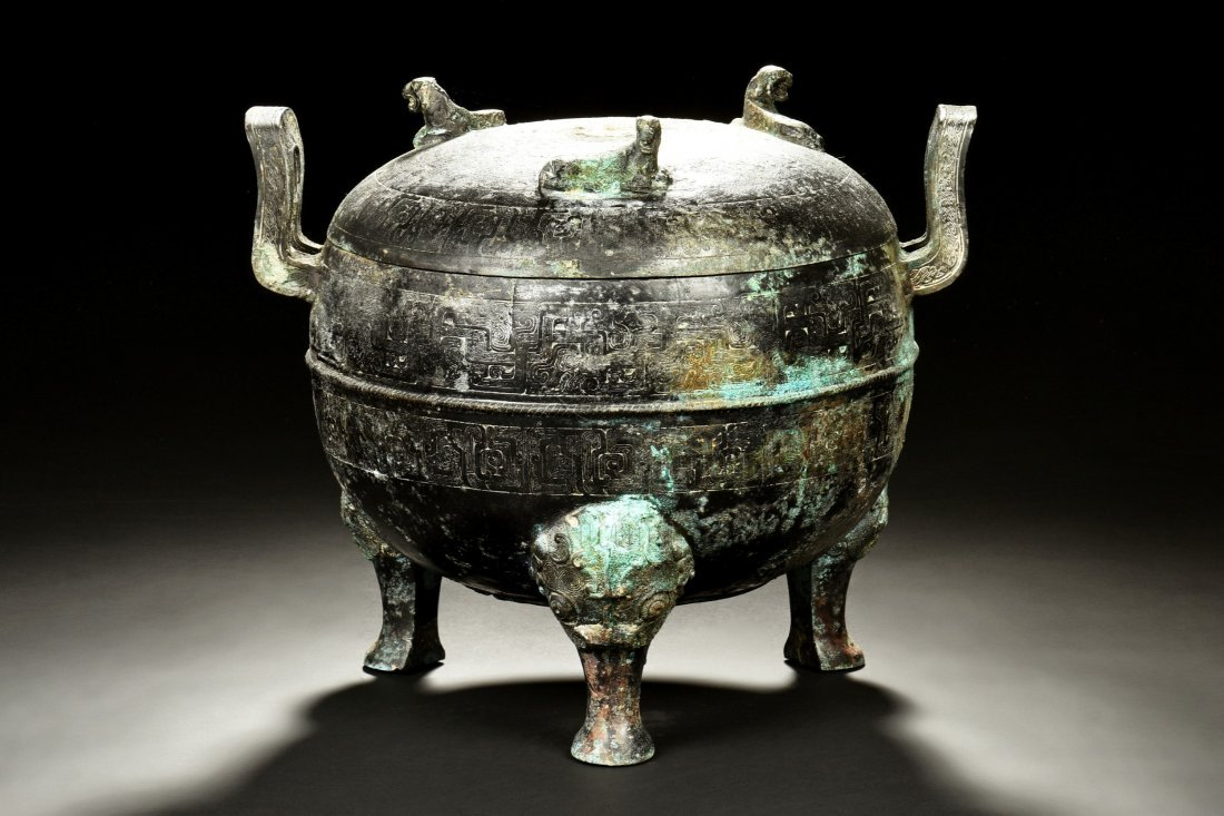 ARCHAIC BRONZE CAST TRIPOD CENSER WITH HANDLES, DING