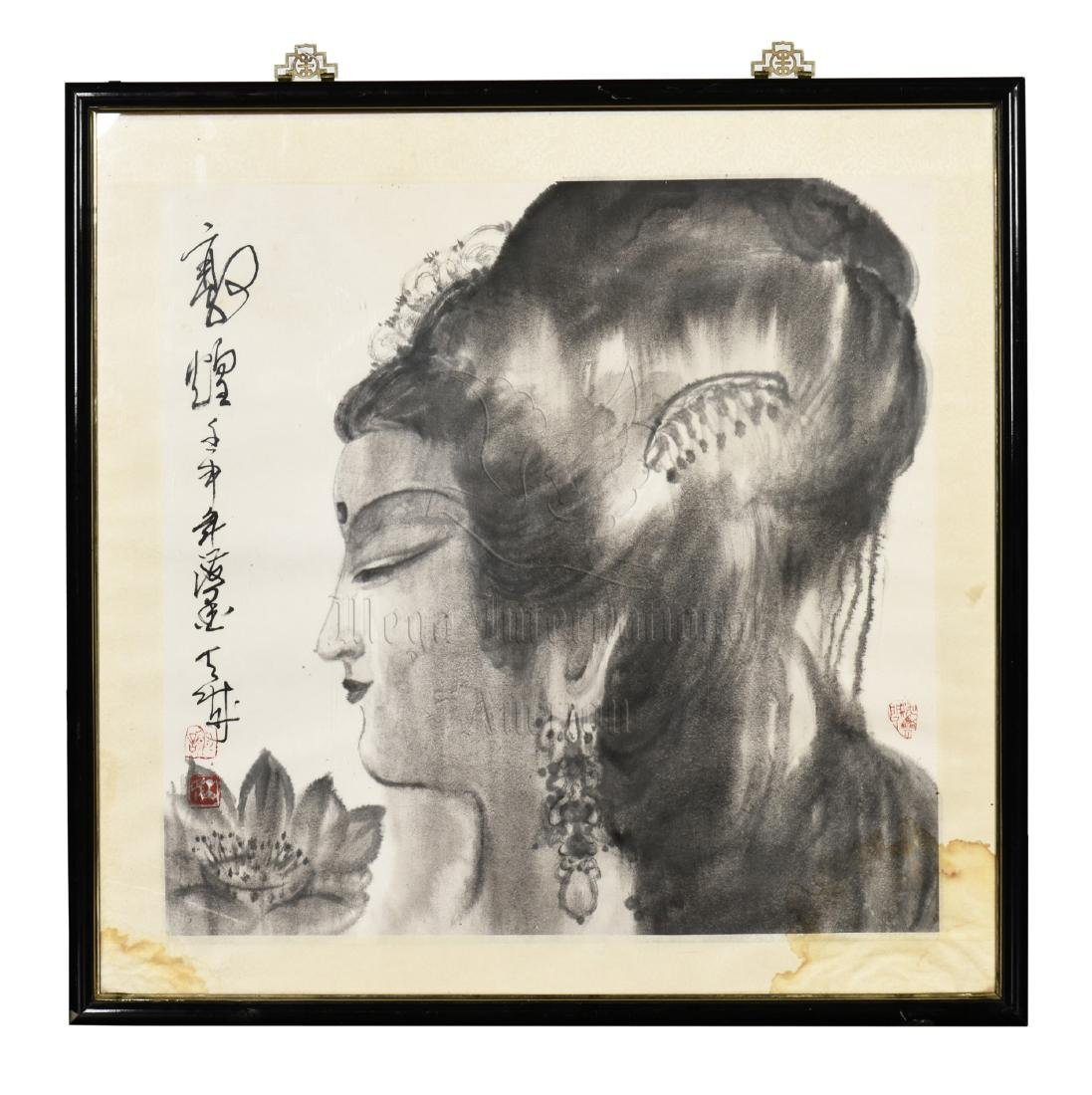 FRAMED DUNHUANG LADY PAINTING