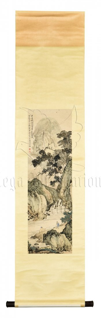 CHEN SHAOMEI: INK AND COLOR ON PAPER PAINTING 'MOUNTAIN