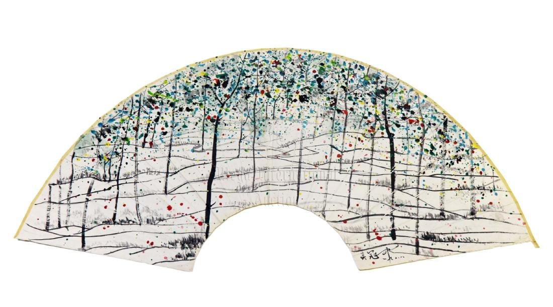 WU GUANZHONG: INK AND COLOR ON FAN LEAF PAINTING