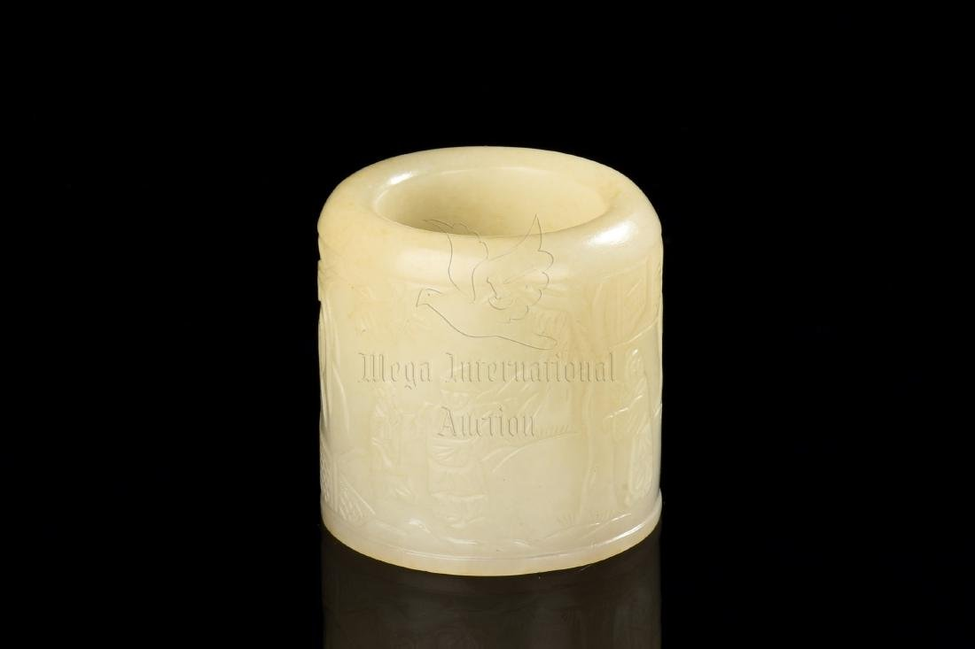 JADE CARVED 'PEOPLE' THUMB RING