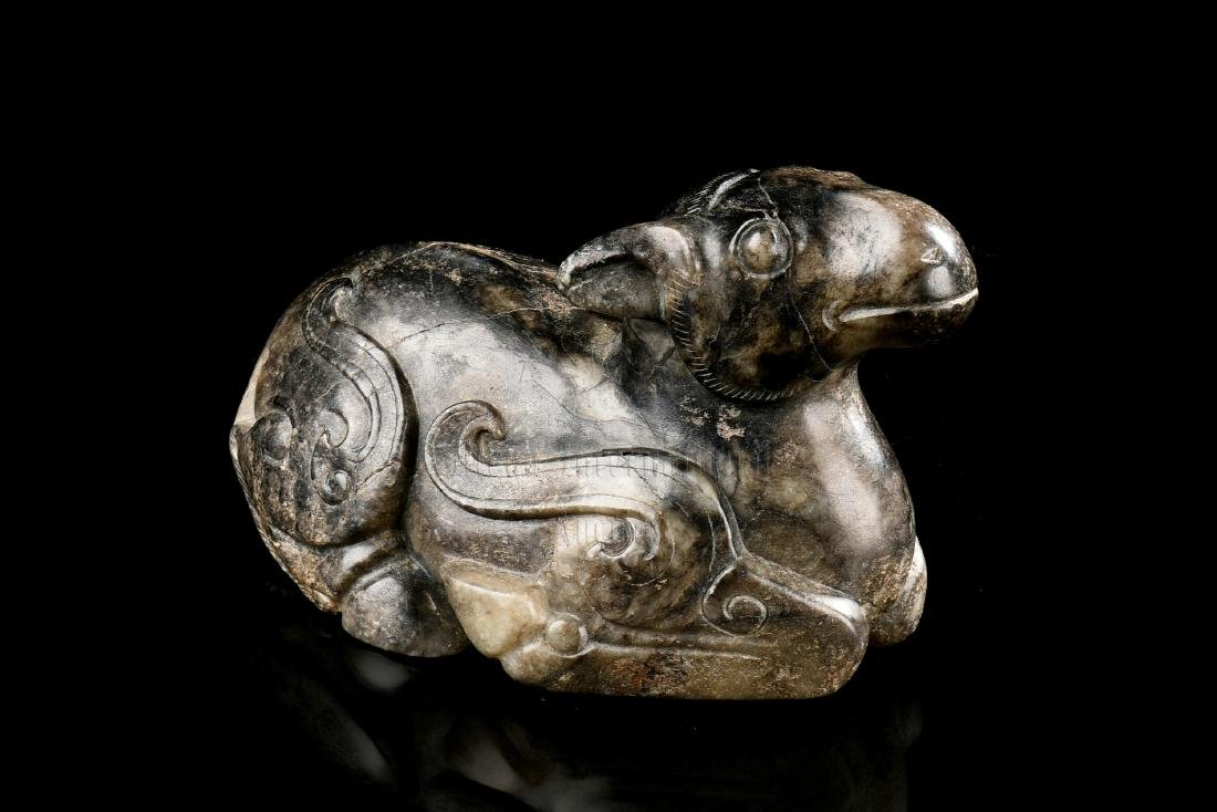 JADE CARVED 'RAM' FIGURE