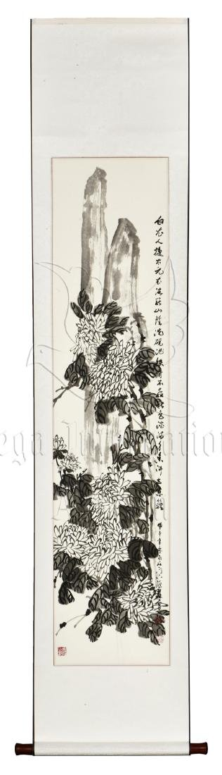 SHEN YUANSEN: INK ON PAPER PAINTING 'CHRYSANTHEMUM