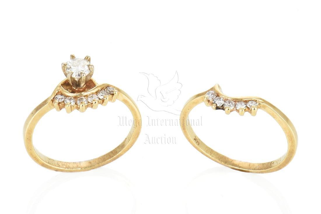 TWO 14K YG MATCHING DIAMOND RINGS
