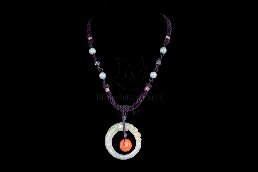 JADE AND CORAL PENDANT NECKLACE
