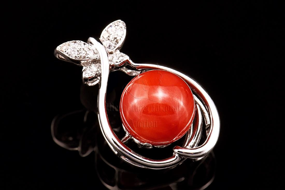 RED CORAL AND DIAMOND PENDANT