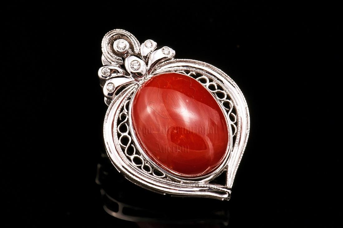 RED CORAL AND DIAMOND PENDANT WITH GIA CERTIFICATE