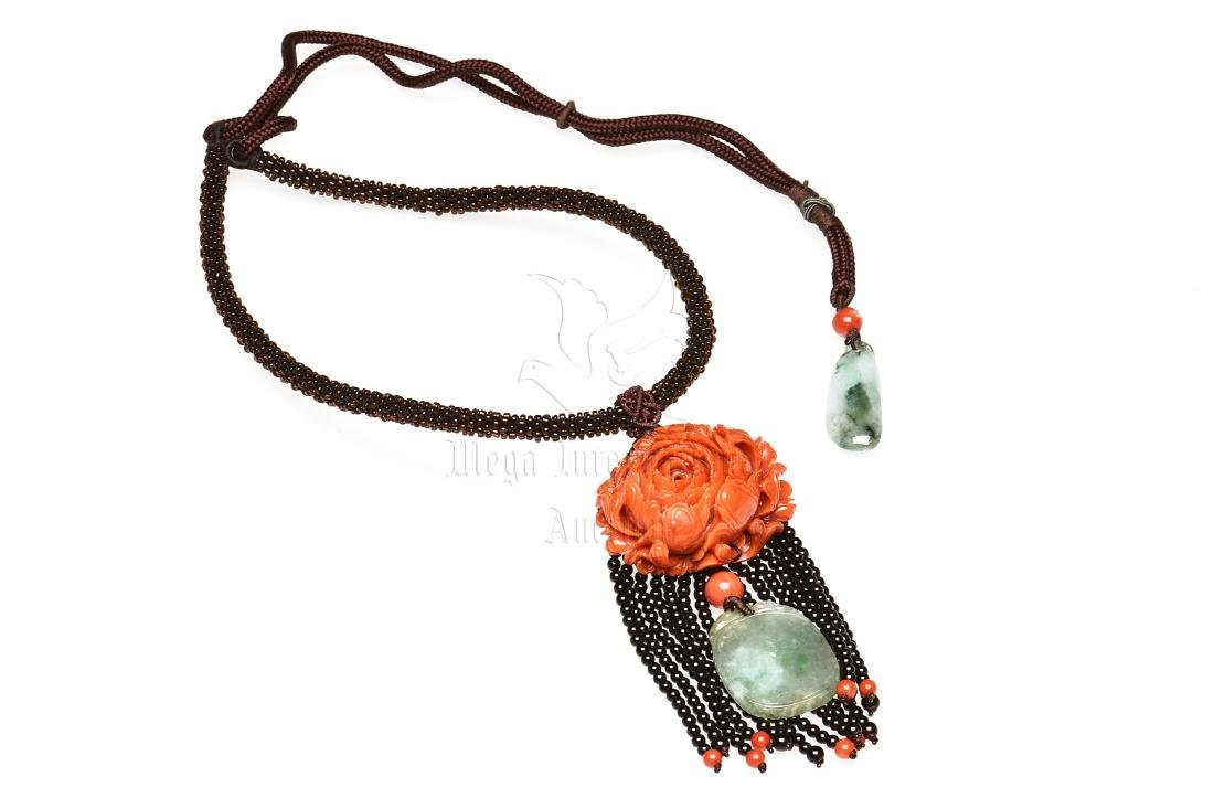 ORANGE RED CORAL PEONY AND JADEITE NECKLACE