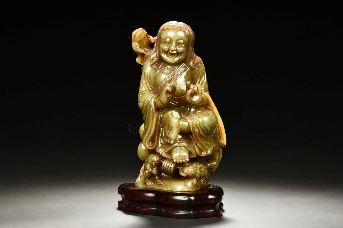 JADE CARVED 'LIU HAI AND TOAD' FIGURE