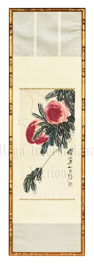 QI BAISHI: FRAMED INK AND COLOR ON PAPER PAINTING