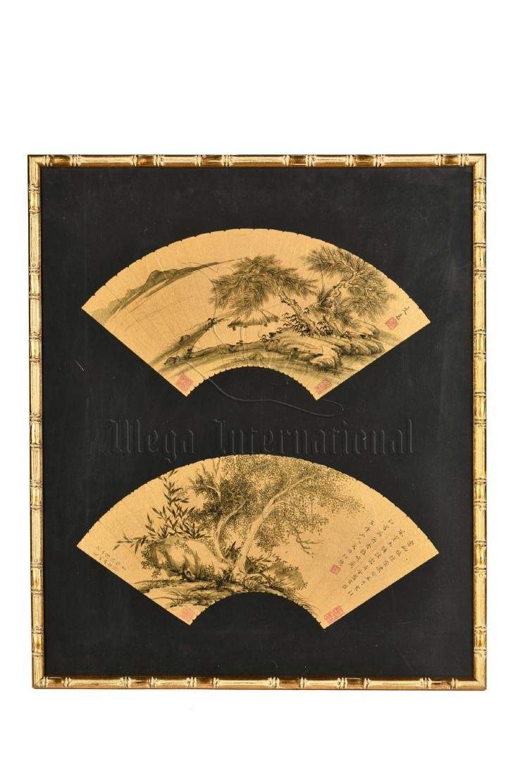 WEN JIA: FRAMED INK ON GOLDEN FAN LEAF PAINTING