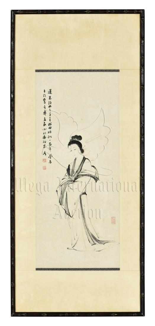 ZHANG DAQIAN: FRAMED INK ON PAPER PAINTING 'LADY'