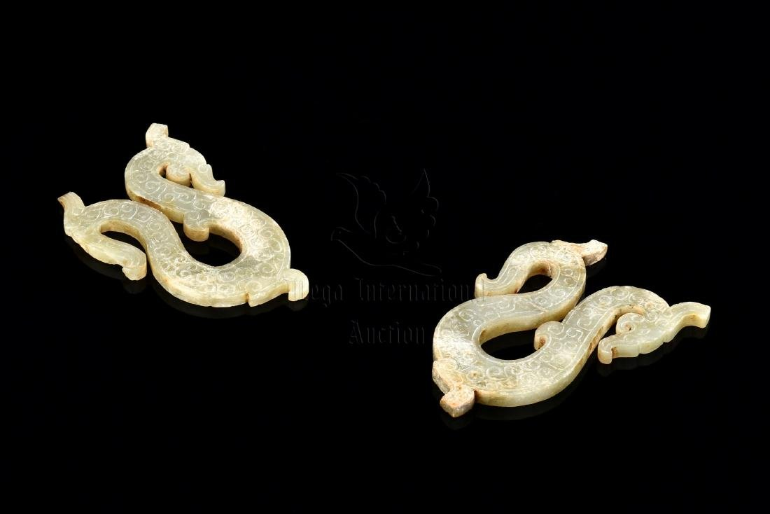 PAIR OF JADE CARVED 'DRAGON' PLAQUE