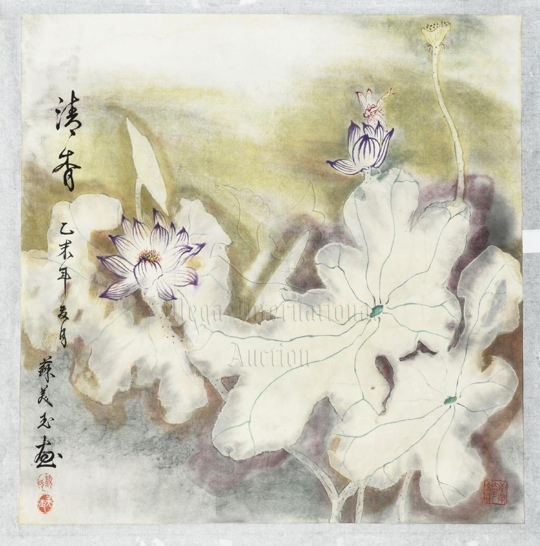 SU MEIYU: INK AND COLOR ON PAPER PAINTING 'LOTUS