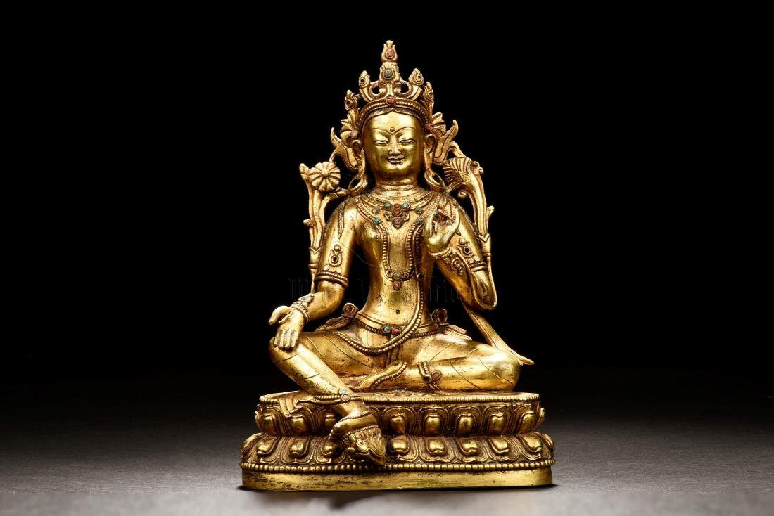 GILT BRONZE CAST AMITABHA SEATED FIGURE