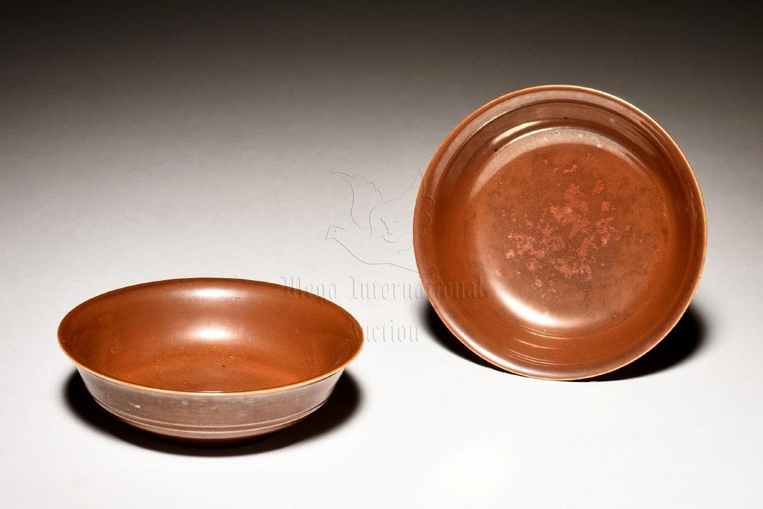 PAIR OF BROWN GLAZED DISHES