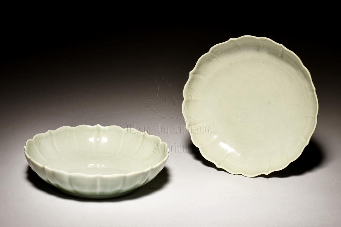 PAIR OF CELADON GLAZED LOBED DISHES