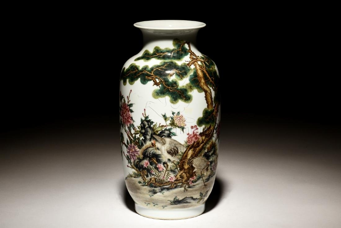 FAMILLE ROSE 'FLOWERS AND BIRDS' VASE