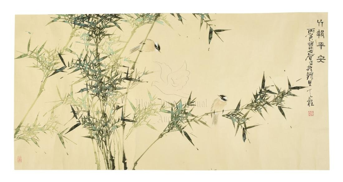 QIN TIANZHU: INK AND COLOR ON PAPER PAINTING 'BIRDS AND