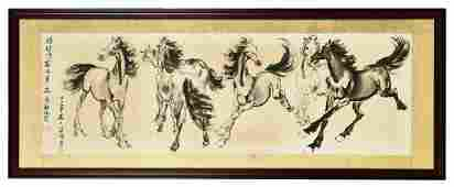 XU BEIHONG: FRAMED INK ON PAPER PAINTING 'SIX HORSES'