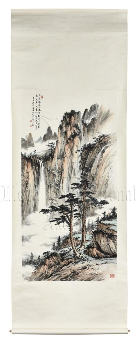 HUANG JUNBI: INK AND COLOR ON PAPER PAINTING 'MOUNTAIN
