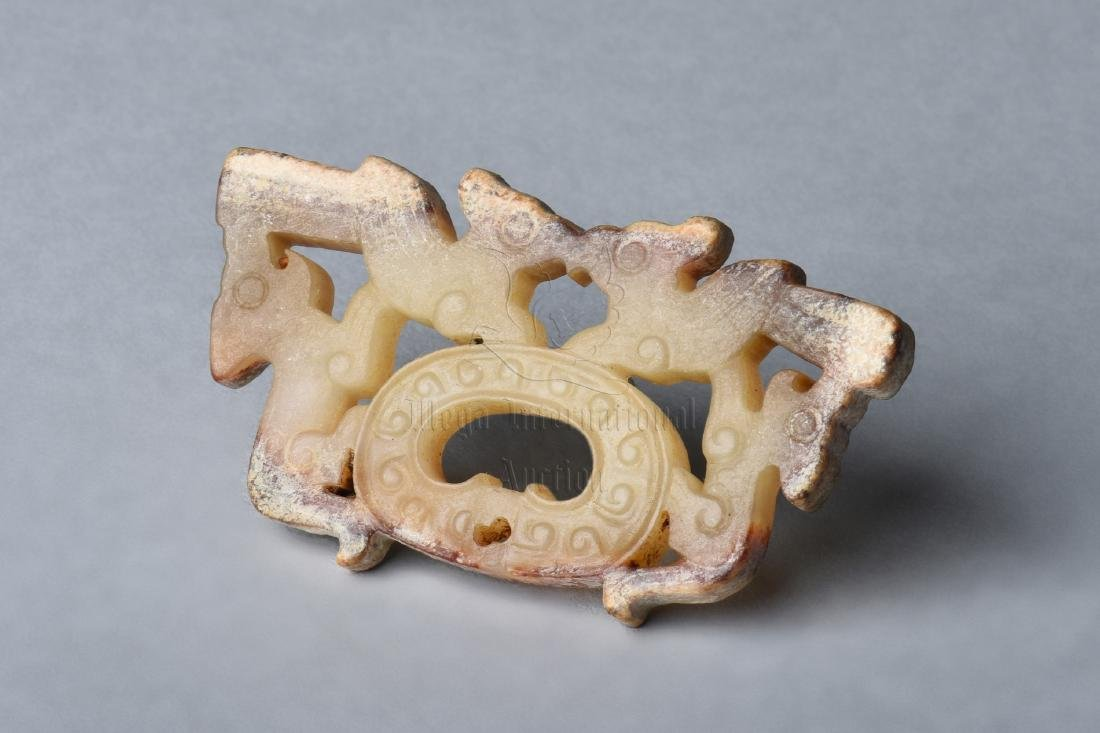 ARCHAIC JADE CARVED 'DRAGONS' PENDANT