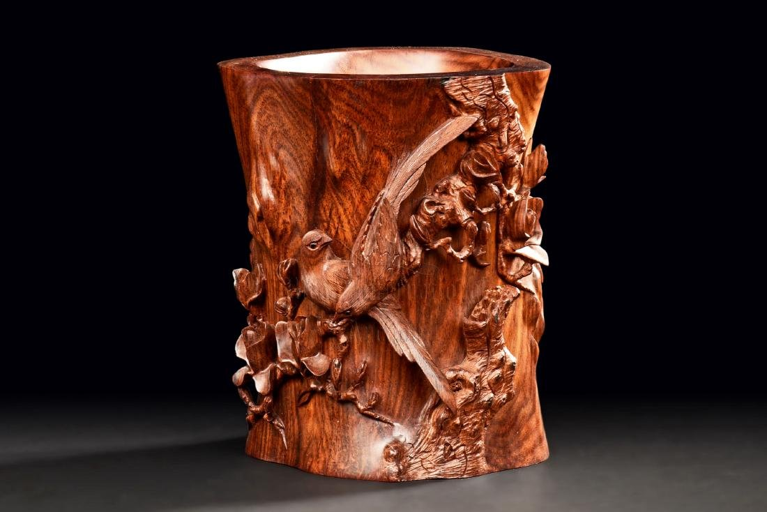 HUANGHUALI WOOD CARVED 'FLOWERS AND BIRDS' BRUSH POT