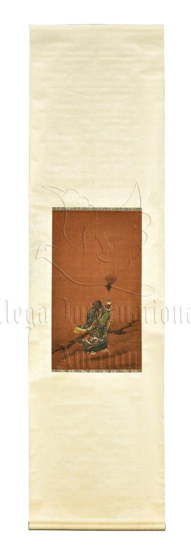 INK AND COLOR ON SILK PAINTING 'ARHAT'