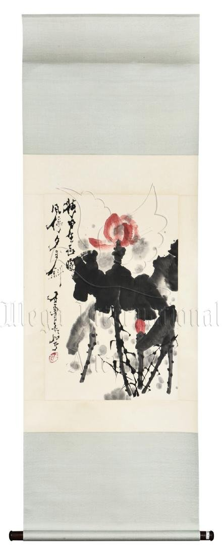 SHI LU: INK AND COLOR ON PAPER PAINTING 'LOTUS FLOWERS'