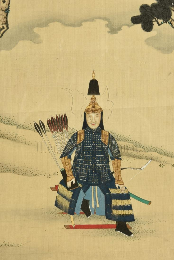 ZHANG TINGYAN: FRAMED INK AND COLOR ON SILK PAINTING - 4