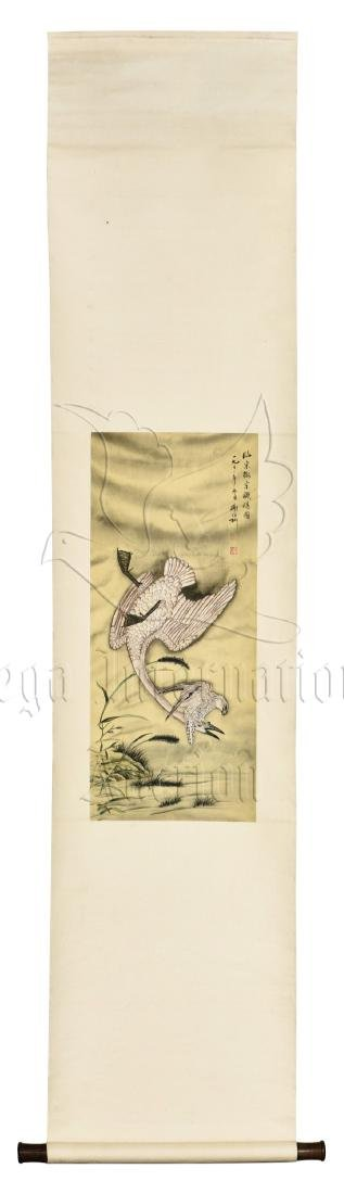 XIE ZHILIU: INK AND COLOR ON SILK PAINTING 'BIRDS'