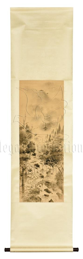WANG ZHUAN: INK ON SILK PAINTING 'MOUNTAIN SCENERY'