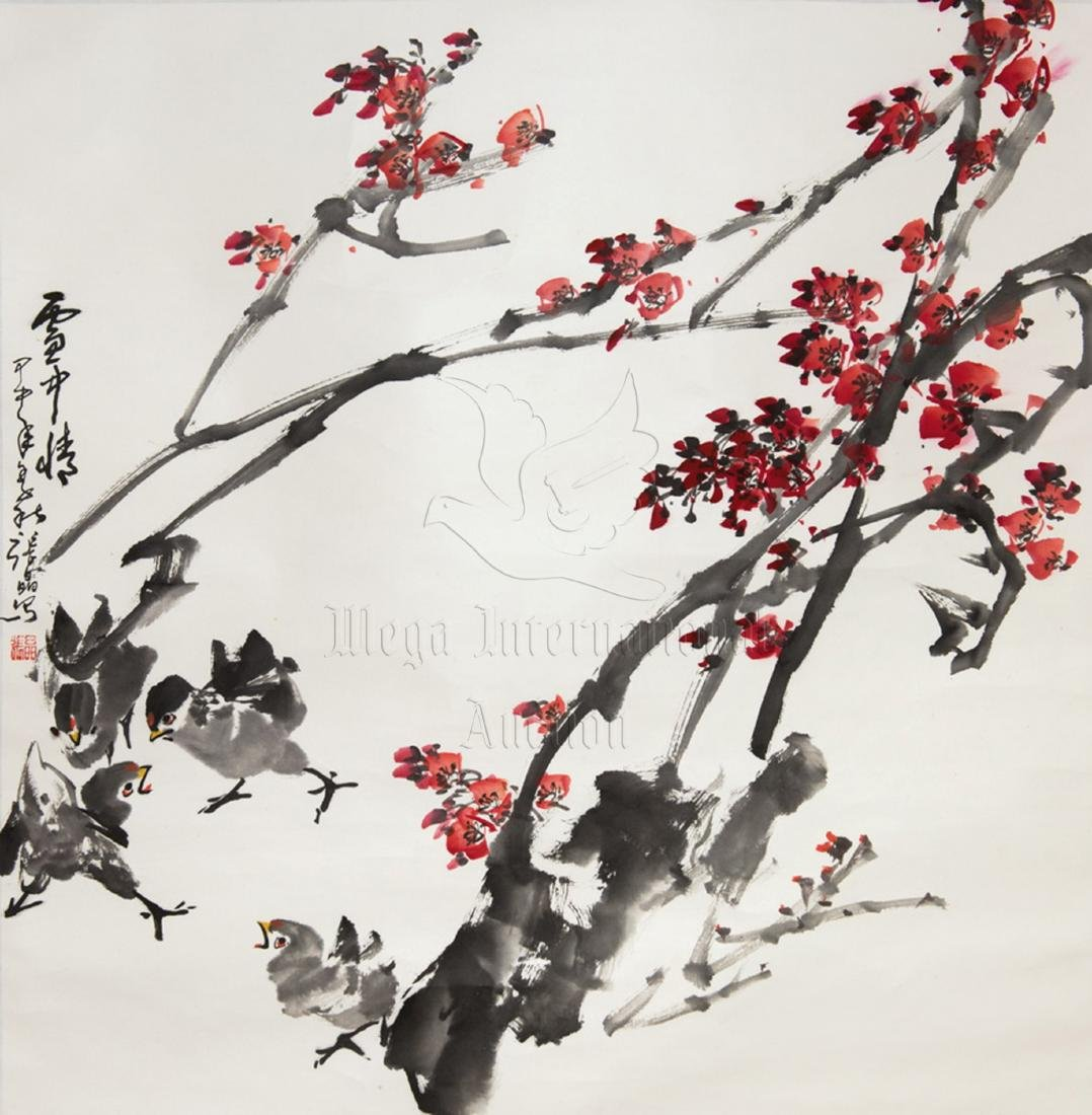ZHANG JING: INK AND COLOR ON PAPER PAINTING 'FLOWERS