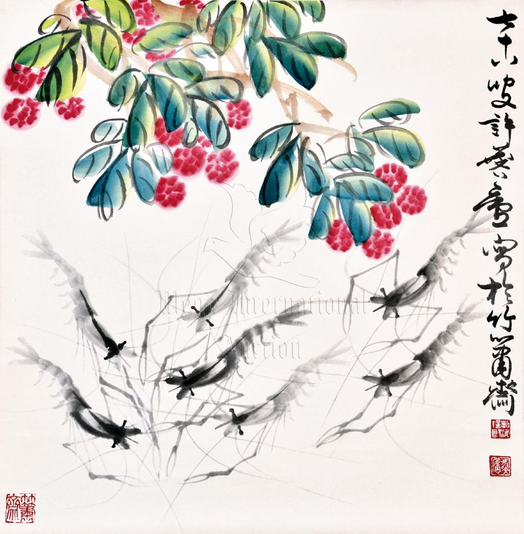 XU LINLU: INK AND COLOR ON PAPER PAINTING 'LITCHI &