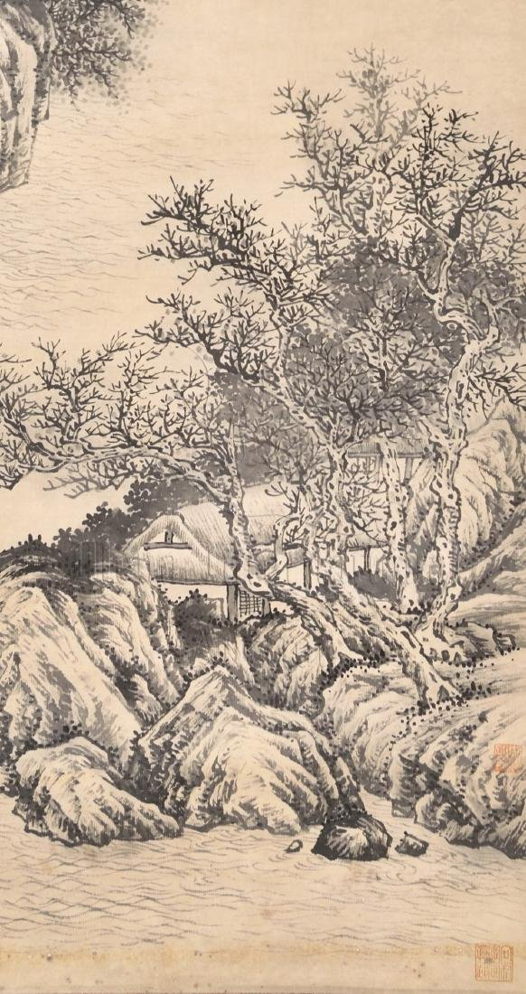 PAN SIMU: INK ON PAPER PAINTING 'LANDSCAPE SCENERY' - 4