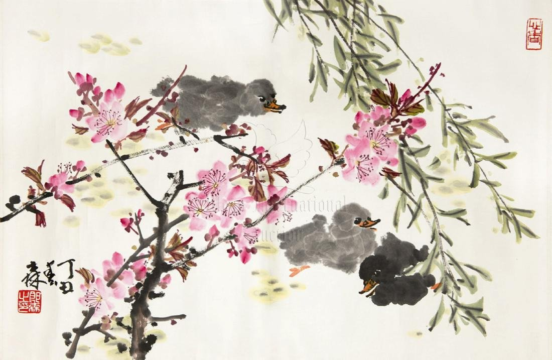 LANG SEN: INK AND COLOR ON PAPER PAINTING 'FLOWERS AND
