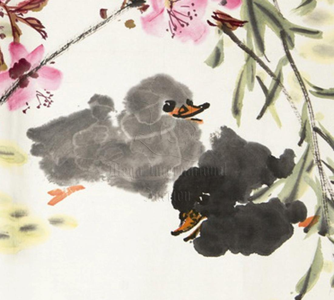 LANG SEN: INK AND COLOR ON PAPER PAINTING 'FLOWERS AND - 4