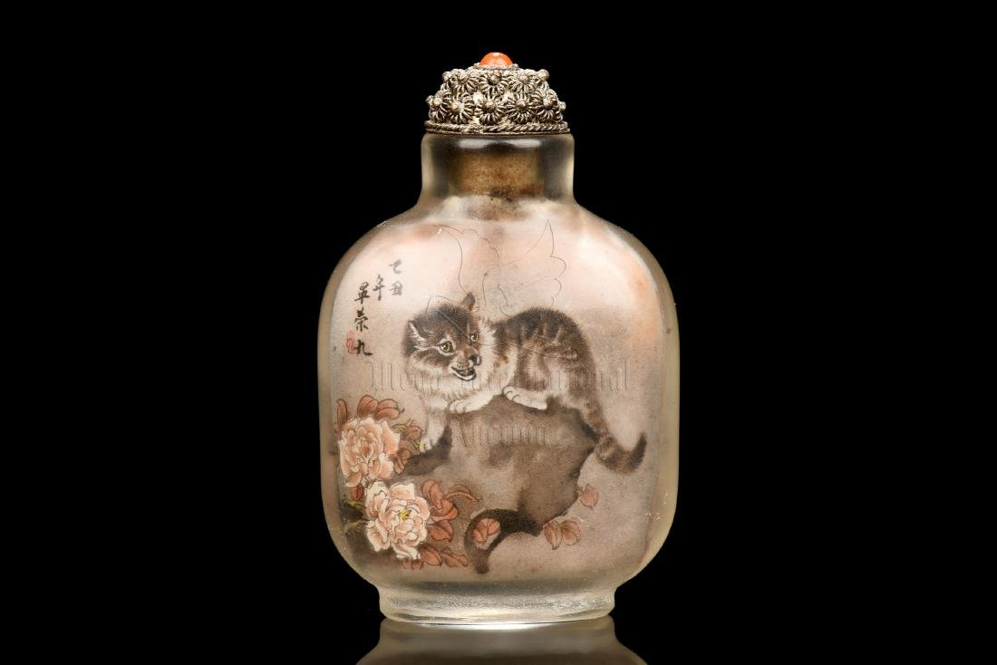 INSIDE PAINTED 'CAT' SNUFF BOTTLE