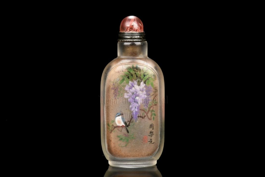 INSIDE PAINTED 'FLOWERS AND BIRDS' SNUFF BOTTLE