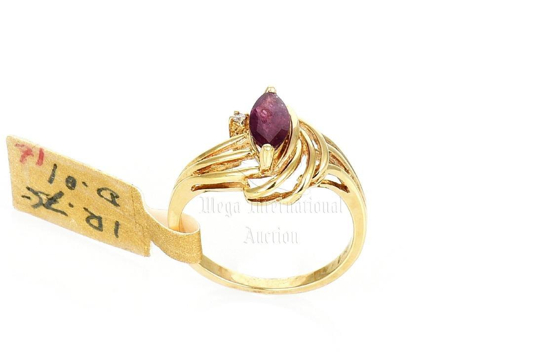 18K YG RUBY RING WITH DIAMOND