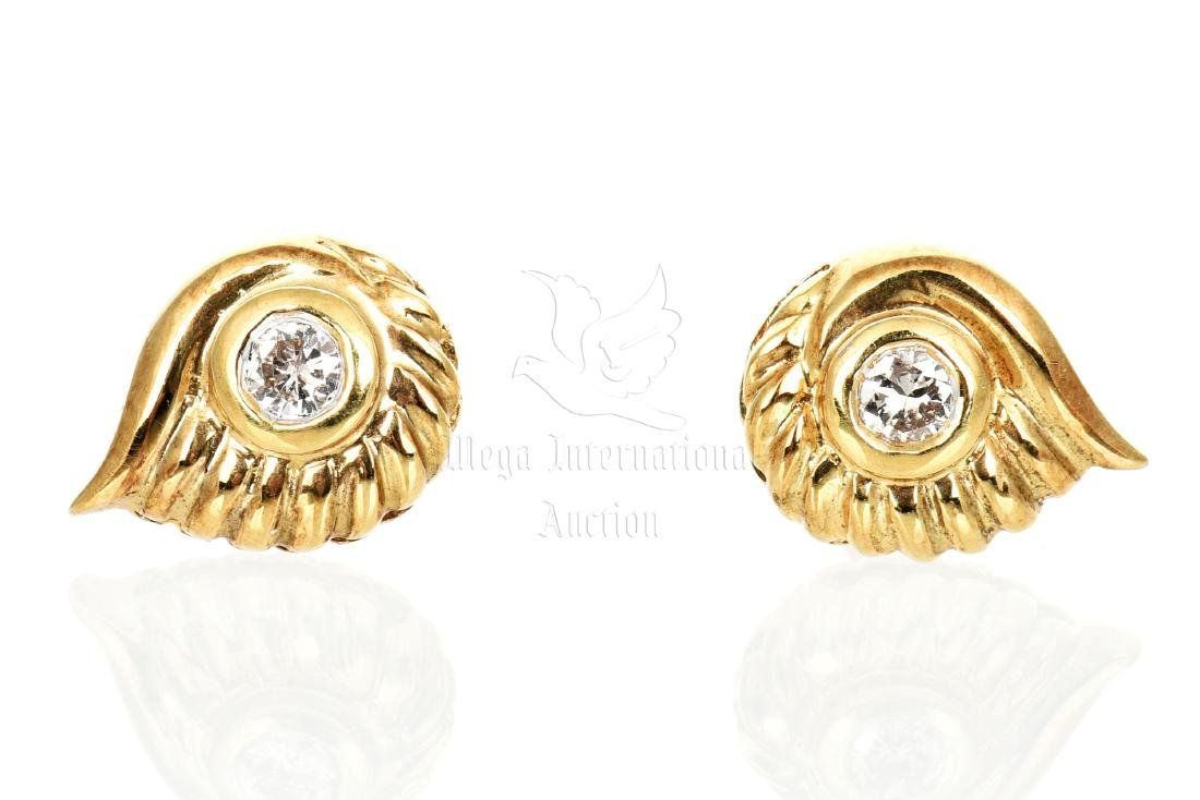 PAIR OF 14K YG DIAMOND EARRING