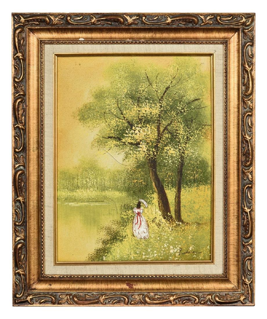 FRAMED OIL ON CANVAS PAINTING 'LADY IN NATURE'